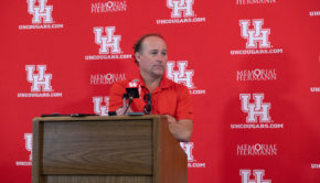 Dana Holgorsen news conference on Aug. 26, 2019. | File photo