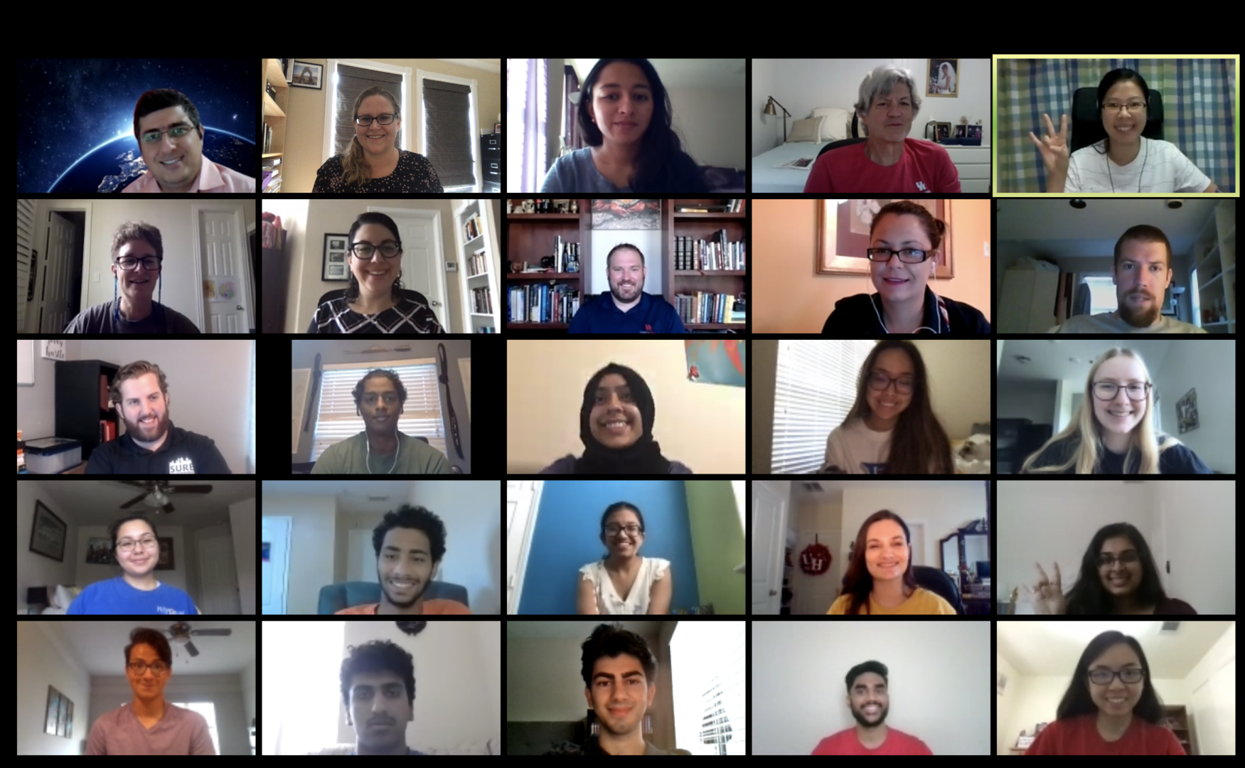 Houston Early Research Experience program participants, faculty and staff have been operating virtually due to the coronavirus pandemic, meeting on Zoom. | Courtesy of Rikki Bettinger