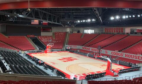 A sea of empty red seats in Fertitta Center at the University. | Jhair Romero/The Cougar
