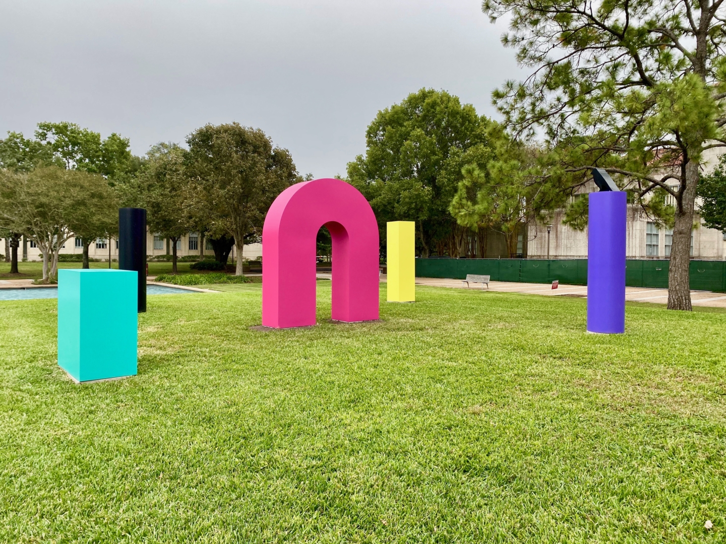 This art exhibit, The Color Field, consists of brightly colored sculptures created by six different artists.   Donna Keeya/The Cougar