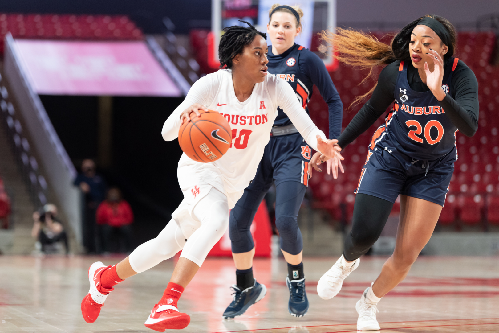 Sophomore guard Britney Onyeje lit it up from downtown against Auburn, scoring 15 points on five 3-pointers during the UH women's basketball team's 71-61 victory Saturday afternoon at Fertitta Center. | Courtesy of UH athletics