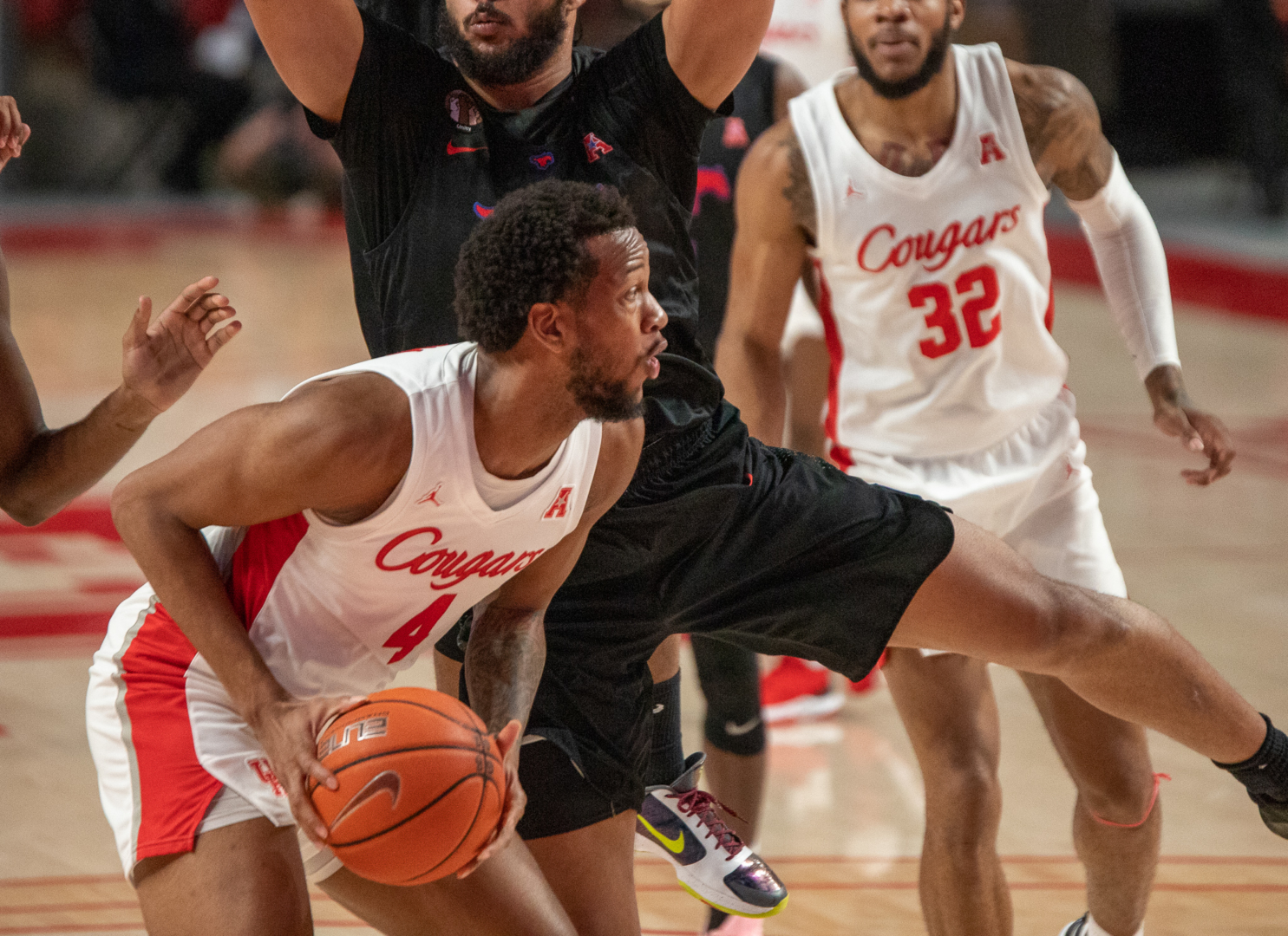 No. 6 UH forward Justin Gorham tracks down one of his 17 rebounds during Sunday's game against SMU inside of the Fertitta Center.   Andy Yanez/The Cougar