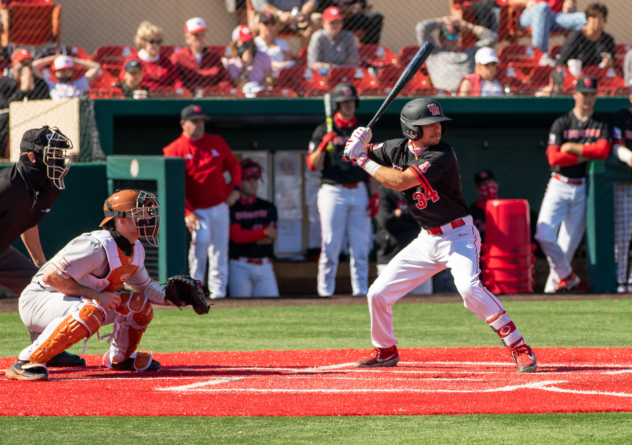 Junior catcher Kyle Lovelace launched his first home run in his UH baseball career Wednesday night against Wichita State. | Andy Yanez/The Cougar