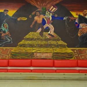 The Chicano Mural, located in the Cougar Den, was created in 1973 by the Mexican-American Youth Organization and depicts the Chicano Movement of the 1960s. | Emily Chambers/The Daily Cougar