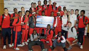 The Houston men's track team won first place in the 2013 C-USA indoor championships | Courtesy of UH Athletics.
