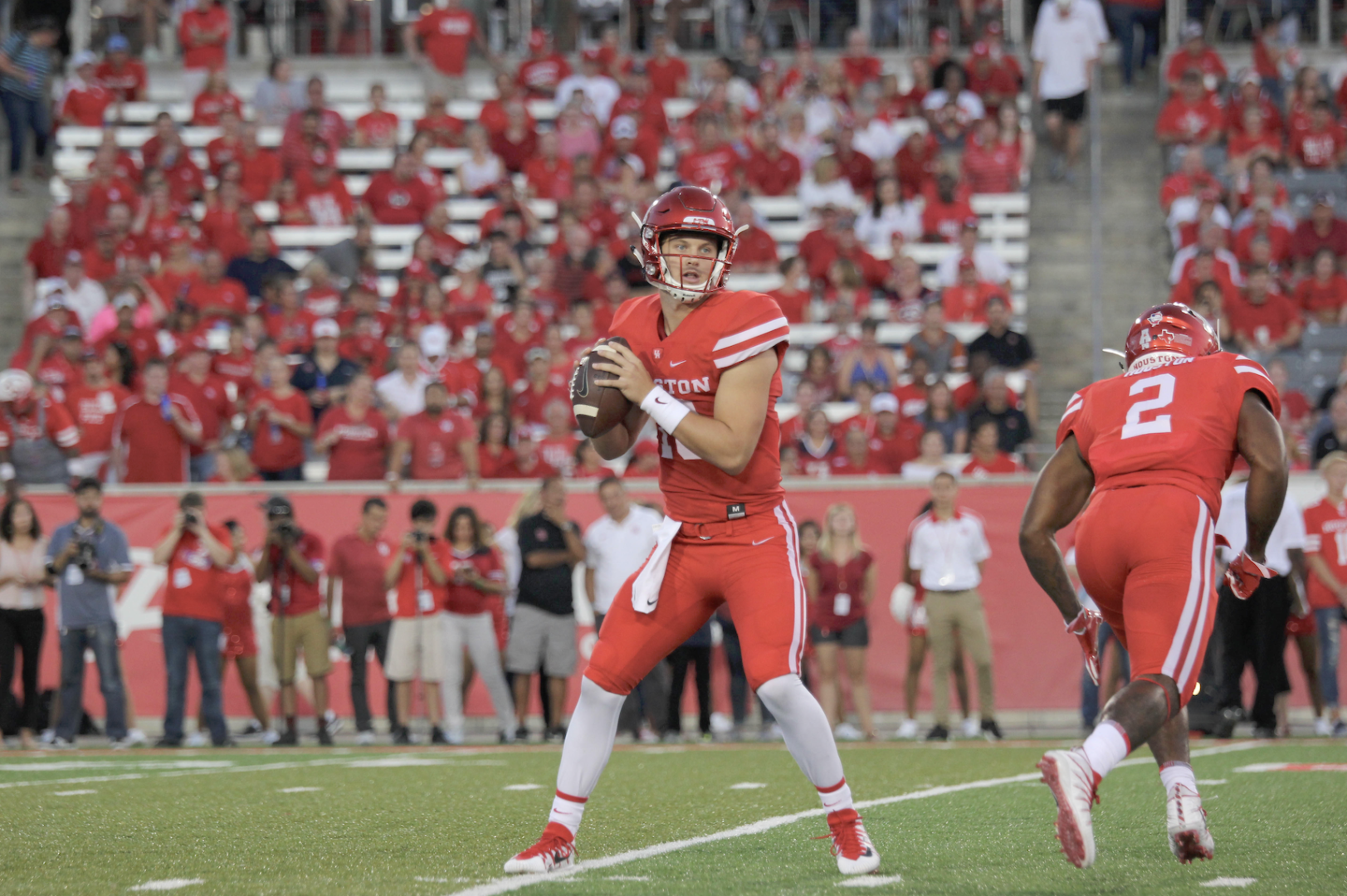 Former Cougar quarterback Kyle Allen returned to Houston on Sunday night as the Carolina Panthers' starter, years after he last played for UH.   File photo