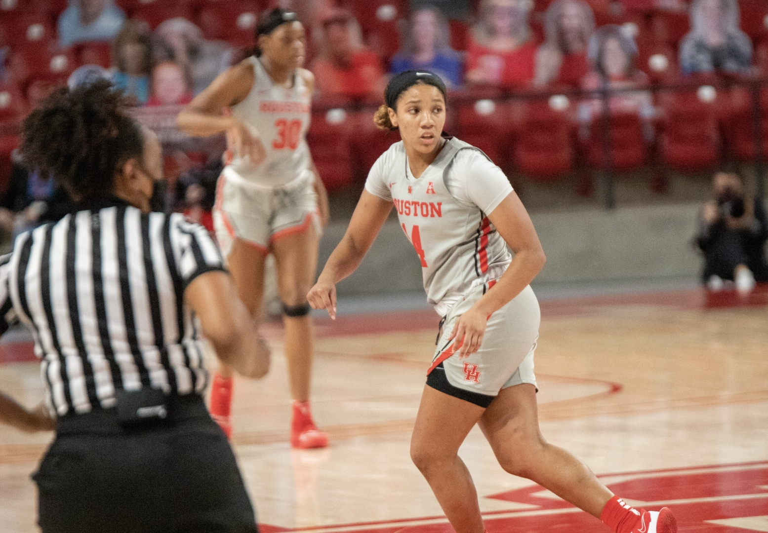 UH women's basketball freshman guard Laila Blair, who had a game-high 19 points against Temple on Wednesday, runs back defense against Wichita State inside Fertitta Center on Dec. 30, 2020. | Andy Yanez/The Cougar