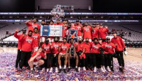The UH basketball team celebrates winning its first American Athletic Conference Tournament Championship at Dickies Arena in Fort Worth on Sunday. UH rose up a spot in the AP Poll on Monday. | Courtesy of UH athletics