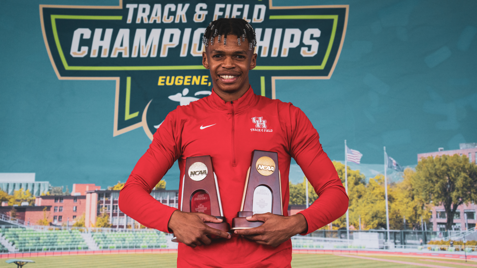 Shaun Maswanganyi racked up many accolades during his breakout freshman season at UH and will represent his home country of South Africa in the 100-meter, 200-meter and 4x100-meter relay at the 2021 Summer Olympics in Tokyo.   Courtesy of UH athletics